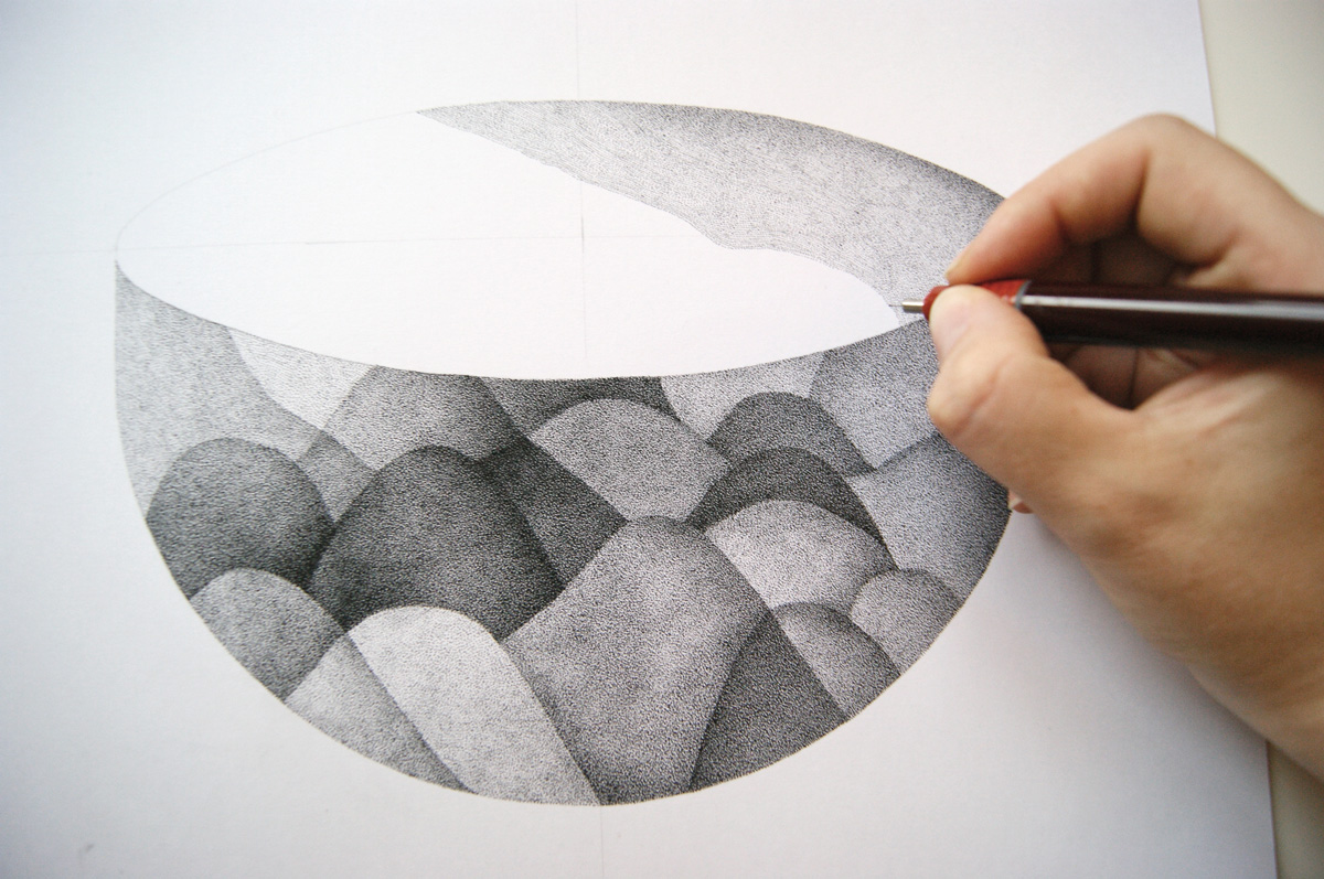 black and white pointilism