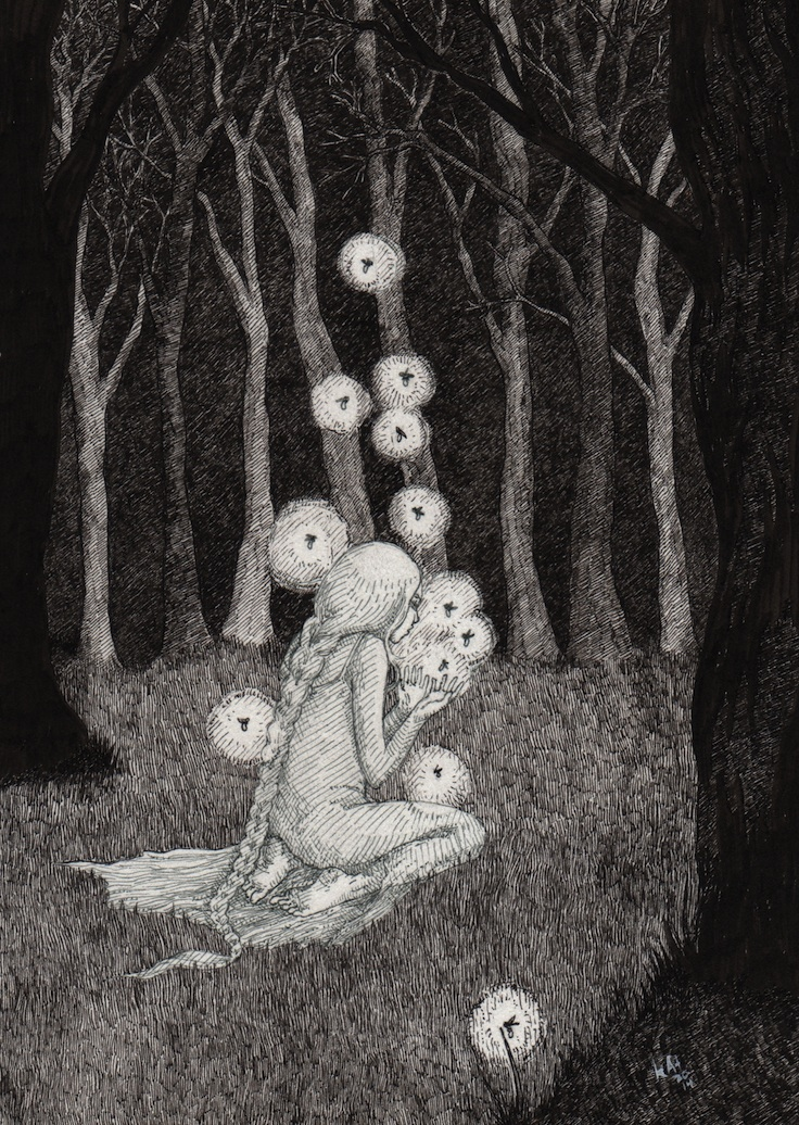 black and white fairytale sketch