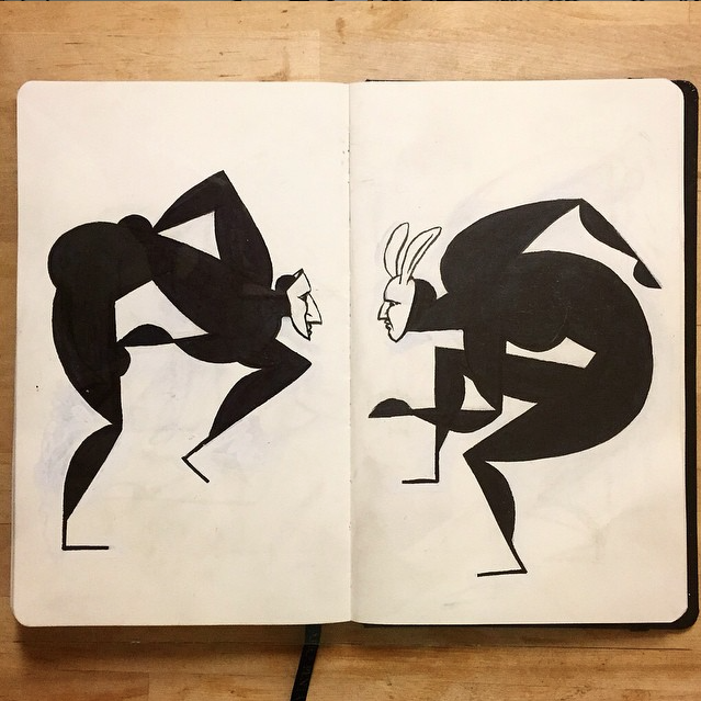 black and white sketchbook