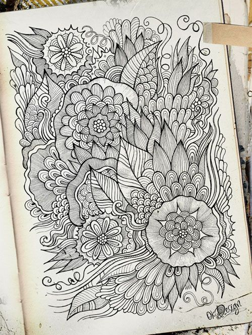 Intricate Hand-Drawn Flowers Direct from Olka's Sketchbooks | Doodlers Anonymous