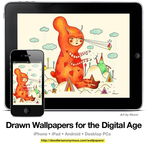Drawn Wallpapers for the Digital Age: Art by Muxxi, #1 | Doodlers Anonymous