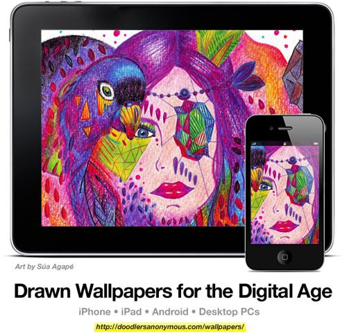 Drawn Wallpapers for the Digital Age: Art by Súa Agapé, #7 | Doodlers Anonymous
