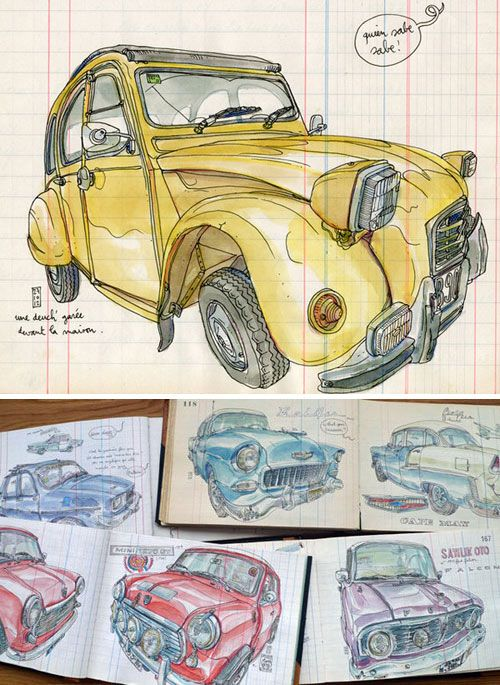 An Incredible Book of Drawn Vintage Cars by Lapin | Doodlers Anonymous