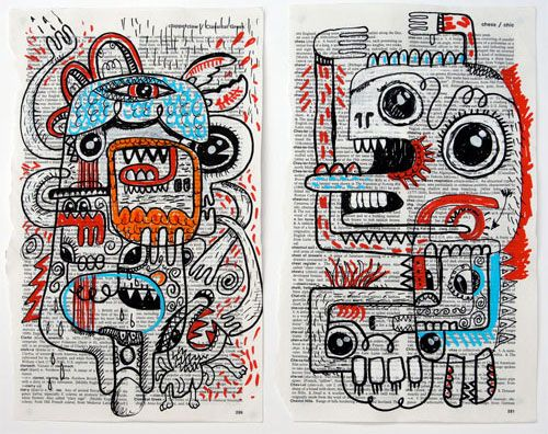 Artworks on Book Pages | Doodlers Anonymous