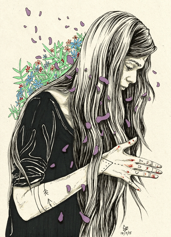 Portraits with Blood and Flowers | Doodlers Anonymous