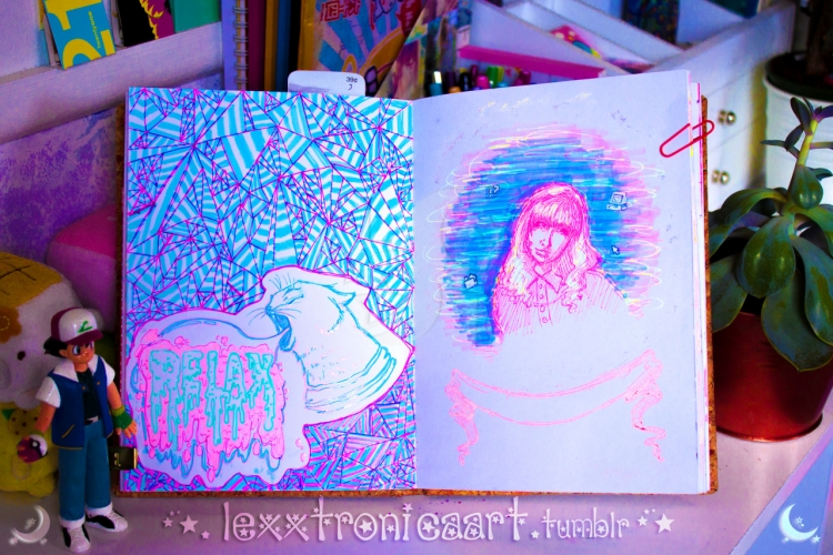 Messing Up On Purpose: Lexxtronica's Neon and Pastel Art Journal | Doodlers Anonymous