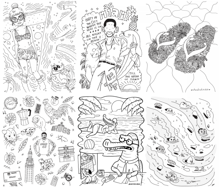 Download Free and Exclusive Miami-themed Coloring Pages | Doodlers Anonymous