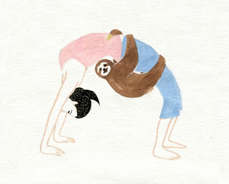 Hand Drawn Yoga Poses with Wild Companions | Doodlers Anonymous