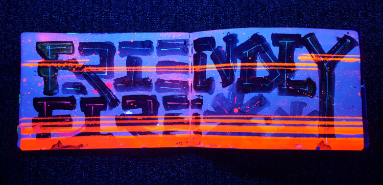 See What This Sketchbook Looks Like Under A Blacklight | Doodlers Anonymous