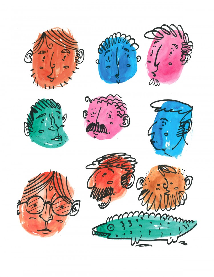 A Sea Of Doodled Faces | Doodlers Anonymous
