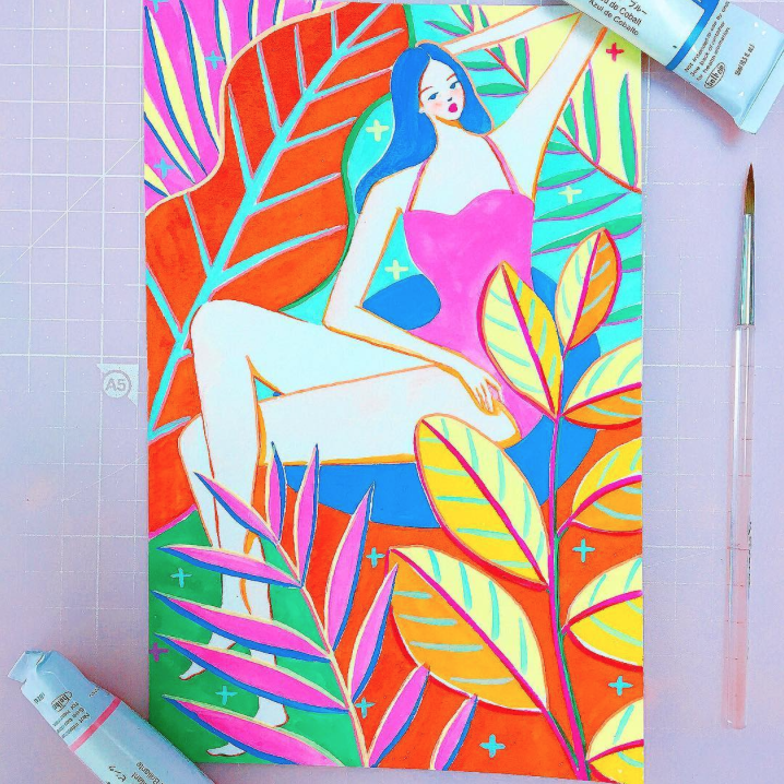Brain-Gouached By Drawings with Tropical Vibes | Doodlers Anonymous