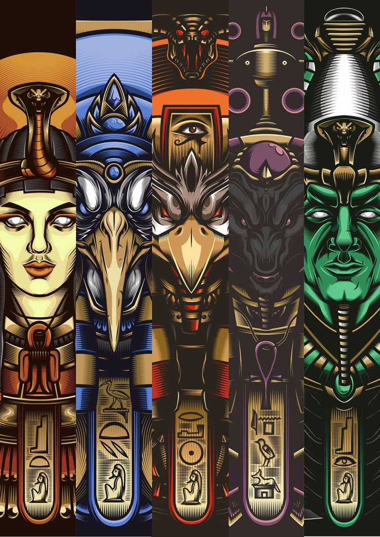 Egyptian Gods, Boldly Illustrated | Doodlers Anonymous
