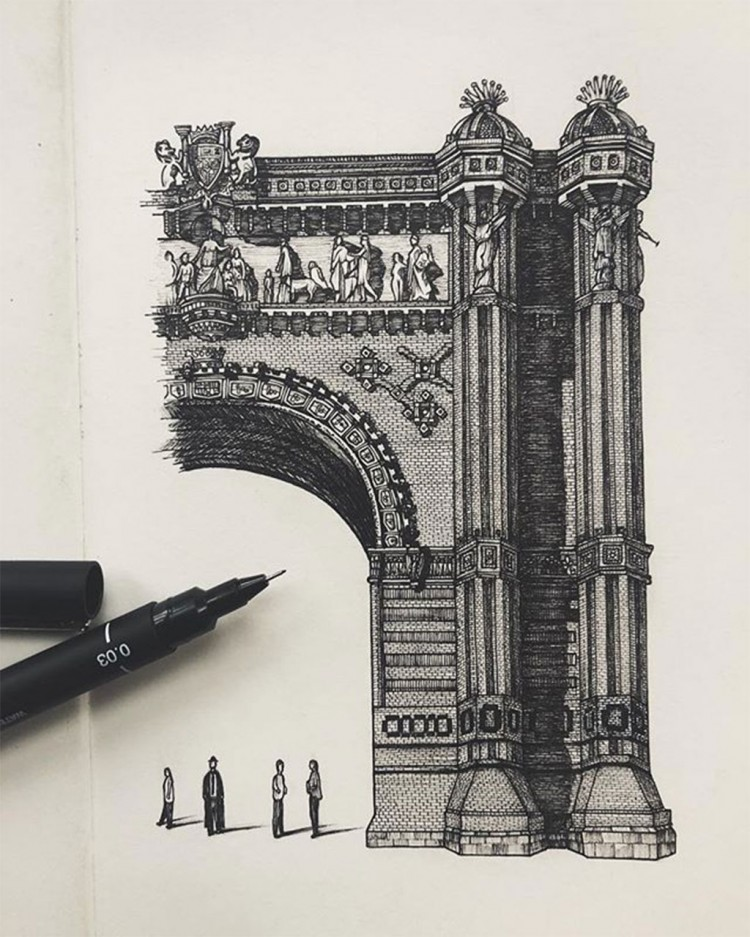 This Artist Creates Incredible Sketchbook Sized Replicas of Gothic Architecture | Doodlers Anonymous