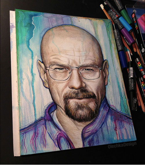 Drawn Walter White by Olechka Wa